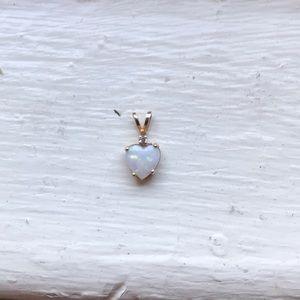Jewelry - 14k gold heart Australian opal and diamond pendant